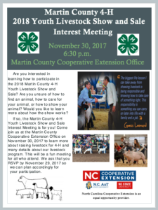 Cover photo for 2018 Martin County 4-H Livestock Show and Sale Interest Meeting