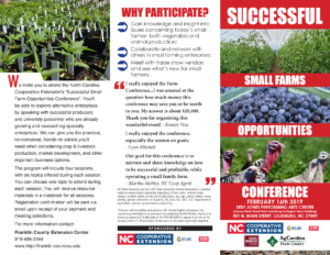 2019Successful Small Farms Opportunities Conference brochure with agenda description, events
